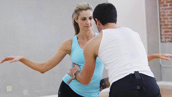 ESPN reporter Erin Andrews and partner Maksim Chmerkovskiy perform the Cha Cha Cha on the season premiere of 'Dancing With the Stars.