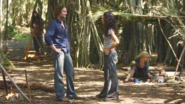Sawyer (Josh Holloway) talks to Kate Austen (Evangeline Lilly) as Claire Littleton (Emilie de Ravin) sits in the background.