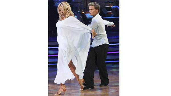Pamela Anderson and Damian Whitewood perform on 'Dancing With the Stars,' Monday, April 12, 2010. The judges gave the couple 47 points out of 60.