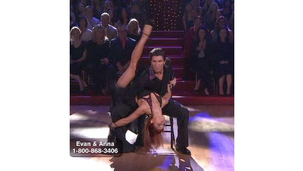 Evan Lysacek and Anna Trebunskaya perform on 'Dancing With the Stars,' Monday, April 12, 2010. The judges gave the couple 52 points out of 60.