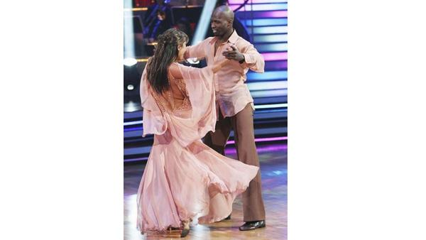 Chad Ochocinco and Cheryl Burke perform on 'Dancing With the Stars,' Monday, April 12, 2010. The judges gave the couple 44 points out of 60.