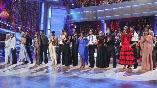 All 9 couples gather on the dance floor on 'Dancing With the Stars,' Monday, April 12, 2010.