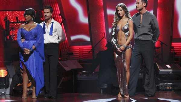 Niecy Nash, Louis van Amstel, Aiden Turner, and Edyta Sliwinska react to being in the bottom two on 'Dancing With the Stars: The Results Show,' Tuesday, April 13, 2010.
