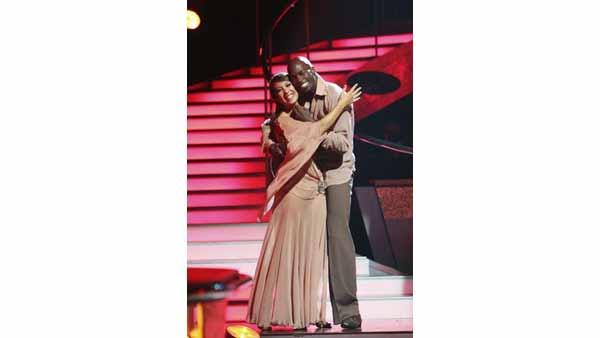 NFL star Chad Ochocinco and Cheryl Burke react to being safe on 'Dancing With the Stars: The Results Show,' Tuesday, April 13, 2010. The couple scored 44 points out of 60 on Monday's show.