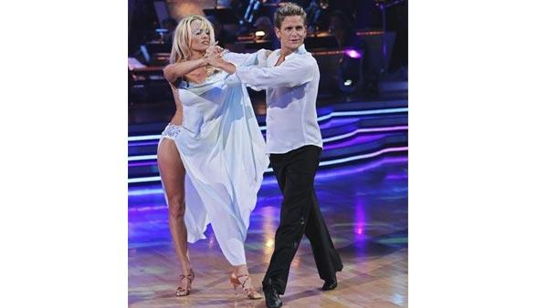 Actress Pamela Anderson and partner Damian Whitewood gave an encore performance of their Rumba on 'Dancing With the Stars: The Results Show,' Tuesday, April 13, 2010. The couple scored 47 points out of 60 on Monday's show.