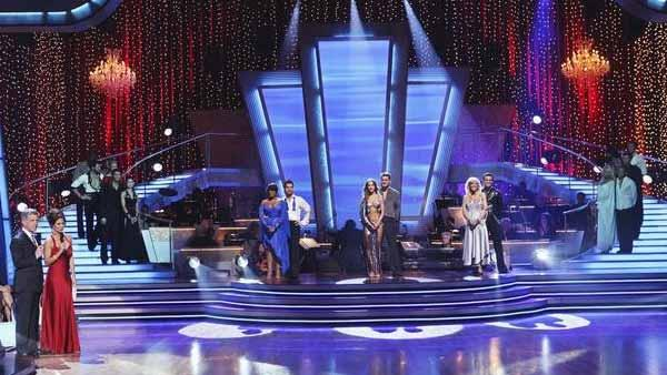 Niecy Nash and Louis van Amstel, Aiden Turner and Edyta Sliwinska, and Kate Gosselin and Tony Dovolani react to being in the bottom three on 'Dancing With the Stars: The Results Show,' Tuesday, April 13, 2010.