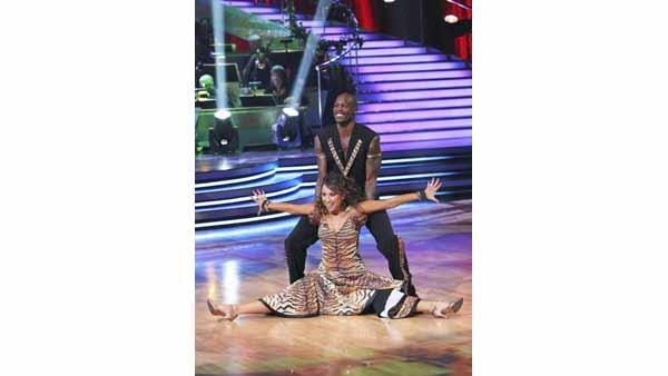 Chad Ochocinco and Cheryl Burke perform on week five of 'Dancing With the Stars,' Monday, April 19, 2010. The judges gave the couple 18 points out of 30.