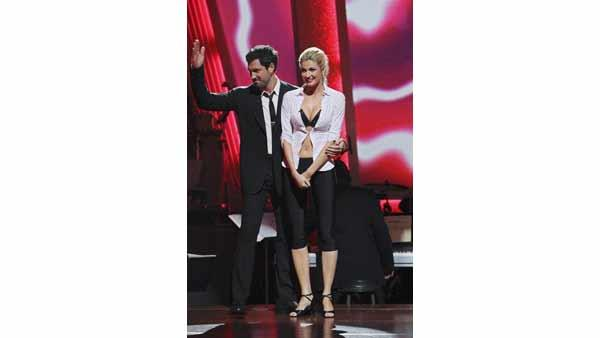 ESPN reporter Erin Andrews and partner Maksim Chmerkovskiy react to being safe on 'Dancing With the Stars: The Results Show,' Tuesday, April 20, 2010. The couple scored 22 points out of 30 on Monday's show.