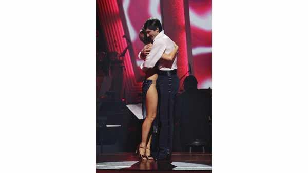 Evan Lysacek and Anna Trebunskaya react to being safe on 'Dancing With the Stars: The Results Show,' Tuesday, April 20, 2010. The couple scored 27 points out of 30 on Monday's show.