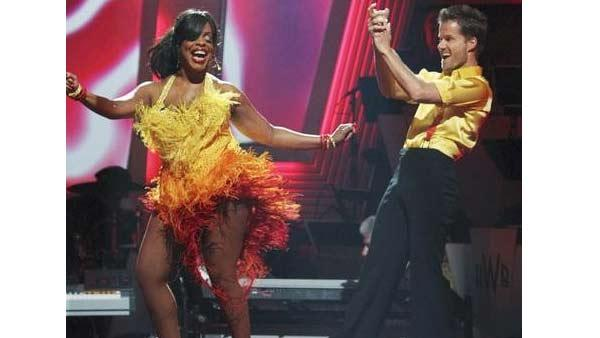 Niecy Nash and Louis Van Amstel react to being safe on 'Dancing With the Stars: The Results Show,' Tuesday, April 20, 2010. The couple scored 18 points out of 30 on Monday's show.