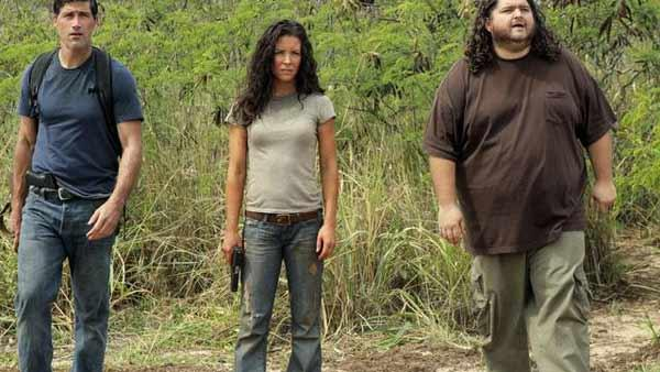 Jack Shephard (Matthew Fox), Kate Austen (Evangeline Lilly) and Hurley (Jorge Garcia)