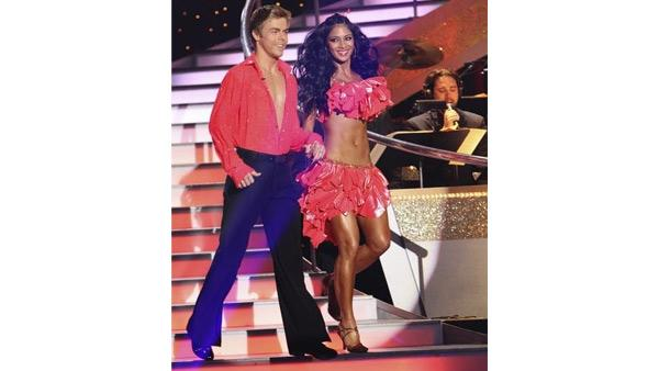 Singer Nicole Scherzinger and partner Derek Hough appear on week six of 'Dancing With the Stars,' Monday, April 26, 2010.