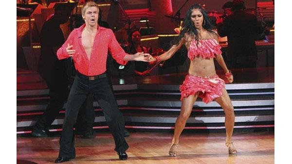 Singer Nicole Scherzinger and partner Derek Hough perform the Samba on week six of 'Dancing With the Stars,' Monday April 26, 2010.