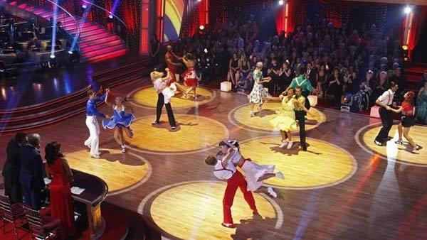The remaining seven couples on 'Dancing With the Stars' hit the dance floor together in a Swing dance marathon on Monday, April 26, 2010.