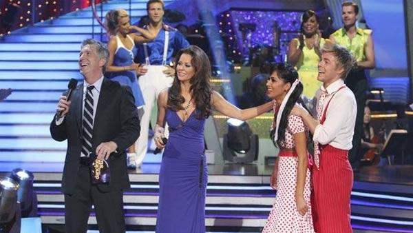 Tom Bergeron, Brooke Burke, Derek Hough, and Nicole Scherzinger are seen following the Swing dance marathon on week six of 'Dancing With the Stars,' Monday, April 26, 2010.