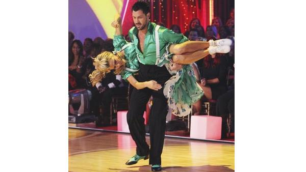 Erin Andrews and Maksim Chmerkovskiy perform in the Swing dance marathon on week six of 'Dancing With the Stars,' Monday, April 26, 2010.