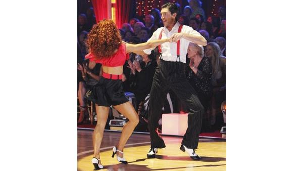 Evan Lysacek and Anna Trebunskaya perform in the Swing dance marathon on week six of 'Dancing With the Stars,' Monday, April 26, 2010.