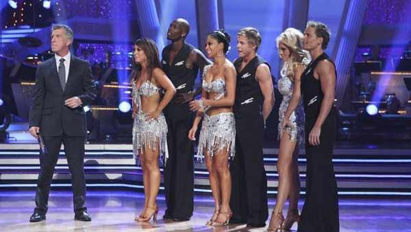 Cheryl Burke, Chad Ochocinco, Nicole Scherzinger, Derek Hough, Pamela Anderson and Damian Whitewood dance the Cha Cha to Lady Gaga's 'Telephone' on week seven of 'Dancing With the Stars,' Monday, May 3, 2010.