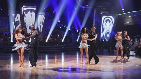 Team Lady Gaga (Chad Ochocinco and Cheryl Burke, Nicole Scherzinger and Derek Hough and Chelsie Hightower and Damian Whitewood) gave an encore performance of their group cha-cha on 'Dancing With the Stars: The Results Show,' Tuesday, May 4, 2010.