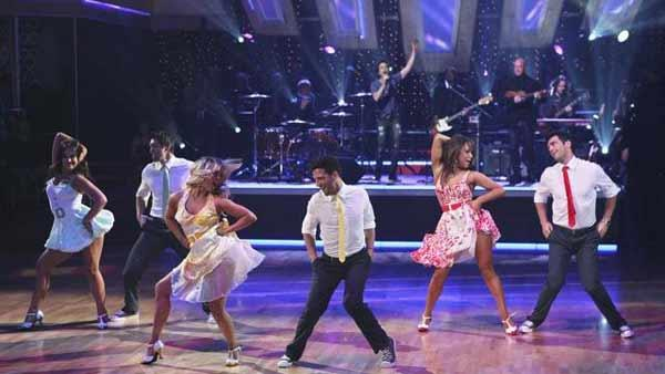 Train performed their newest single, 'Hey, Soul Sister', accompanied on the floor by Mark Ballas, Chelsie Hightower, Dmitry Chaplin, Lacey Schwimmer, Toni Dovolani and Cheryl Burke, on 'Dancing With the Stars: The Results Show,' Tuesday, May 4, 2010.
