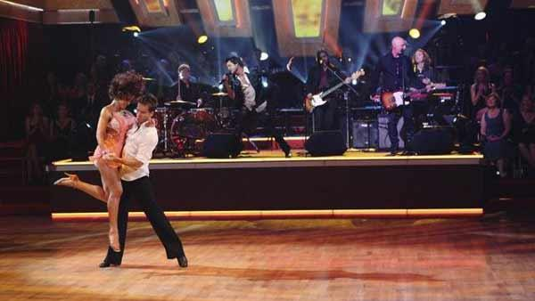 Train performed their hit 'Drops of Jupiter', accompanied by pros Karina Smirnoff and Louis Van Amstel on the dance floor on 'Dancing With the Stars: The Results Show,' Tuesday, May 4, 2010.