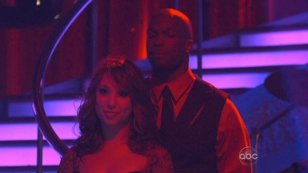 NFL star Chad Ochocinco and dance partner Cheryl Burke react to being in jeopardy on 'Dancing With the Stars: The Results Show,' Tuesday May 11, 2010. The couple scored 45 out of 60 on Monday's show.