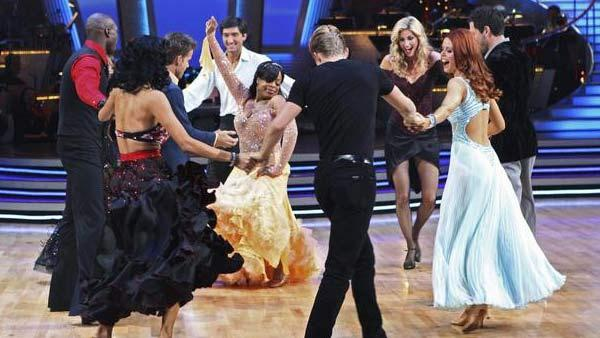 Evan Lysacek, Cheryl Burke, Louis Van Amstel, Niecy Nash, Maksim Chmerkovskiy, Anna Trebunskaya, Chad Ochocinco, Derek Hough, Nicole Scherzinger dance together on 'Dancing With the Stars: The Results Show,' Tuesday May 11, 2010.