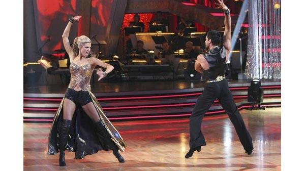 Erin Andrews and partner Maksim Chmerkovskiy performed a Paso Doble on week nine of 'Dancing With the Stars,' Monday, May 17, 2010. The judges gave the couple 29 points out of 30.