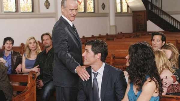 Jack Shephard (Matthew Fox) is touched by an angel, or rather, his father Christian Shephard (John Terry.