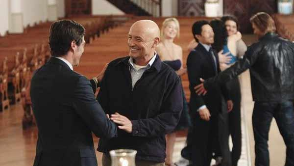 Jack Shephard (Matthew Fox) and John Locke (Terry O'Quinn) celebrate being dead.