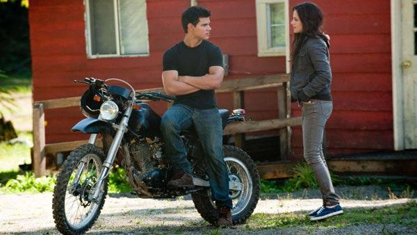 Jacob Black (Taylor Lautner) and Bella Swan (Kristen Stewart)