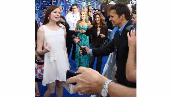 Geena Davis is interviewed on the blue carpet at the premiere of 'World of Color' water show at Disneyland in Anaheim, Calif., Thursday, June 10, 2010.