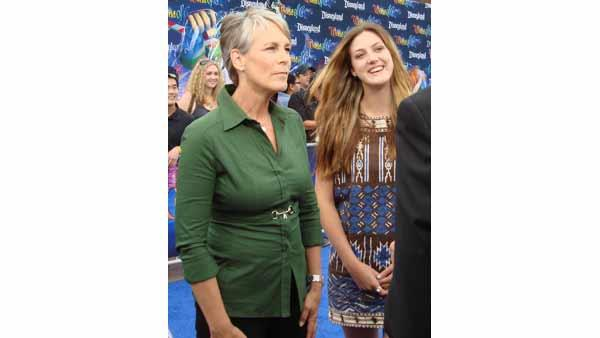 Jamie Lee Curtis and her daughter Annie Guest are interviewed on the blue carpet at the premiere of the 'World of Color' water show at Disneyland in Anaheim, Calif., Thursday, June 10, 2010.
