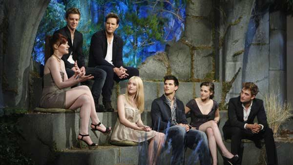 From left: Bryce Dallas Howard (Victoria), Xavier Samuel (Riley), Peter Facinelli (Carlisle Cullen), Dakota Fanning (Jane), Taylor Lautner (Jacob Black), Kristen Stewart (Bella Swan) and Robert Pattinson (Edward Cullen)