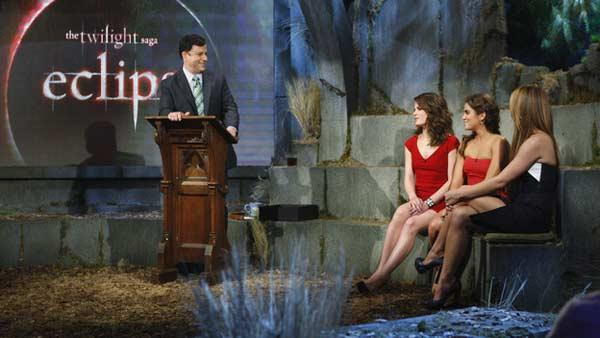 Host Jimmy Kimmel, Elizabeth Reaser (Esme Cullen), Nikki Reed (Rosalie Hale) and Ashley Greene (Alice Cullen) at the primetime special 'Jimmy Kimmel Live's Twilight Saga: Total Eclipse of the Heart', set to air on Wednesday, June 23 at 10 p.m. ET on ABC.