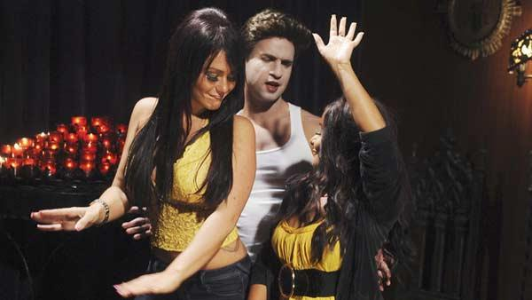 Jenni Farley ('JWoww'), Michael Sorrentino ('The Situation') and Nicole Polizzi ('Snooki') from MTV reality show 'Jersey Shore' reenact a scenes from 'Twilight'.