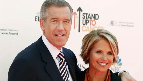 Event co-hosts Brian Williams, left, and Katie Couric at the 'Stand Up To Cancer' television event at Sony Studios in Culver City, Calif., on Friday, Sept. 10, 2010.  (AP Photo/Matt Sayles)