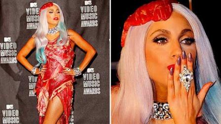 Lady Gaga appears in a meat dress at the 2010 MTV Video Music Awards on Sept. 12, 2010.