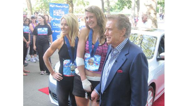 Regis and Kelly pose with High Heel-a-thon winner Ida Bernstein.