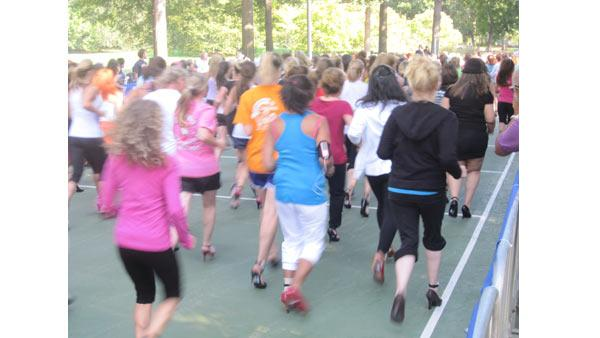 Hundreds of women in heels lumbered toward the finish line of the second High Heel-a-thon in Central Park.