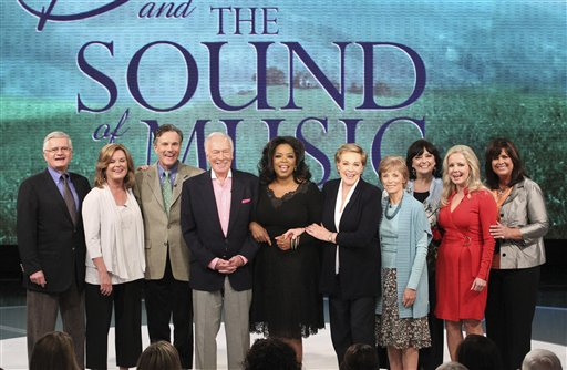 "<div class=""meta ""><span class=""caption-text "">This photo taken Sept. 23, 2010 and provided by Harpo Productions Inc., shows members of the cast of 'The Sound of Music' reuniting for the first time in 45 years during taping of 'The Oprah Winfrey Show' at Harpo Studios in Chicago.   (Pictured from left are: Duane Chase (Kurt), Heather Menzies-Urich (Louisa), Nicholas Hammond (Friedrich), Christopher Plummer (Captain Von Trapp), Oprah Winfrey, Julie Andrews (Maria), Charmian Carr (Liesl), Angela Cartwright (Brigitta), Kym Karath (Gretl) and Debbie Turner (Marta).) The show aired nationally on Thursday, Oct. 28, 2010.) (Harpo Productions Inc., George Burns)</span></div>"