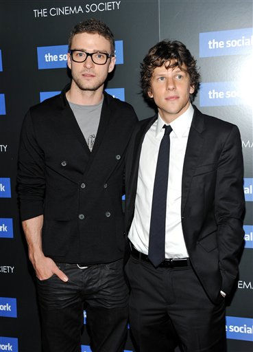 "<div class=""meta ""><span class=""caption-text "">Actors Justin Timberlake, left, and Jesse Eisenberg attend a special screening of 'The Social Network' hosted by The Cinema Society on Wednesday, Sept. 29, 2010 in New York. (AP Photo/Evan Agostini) (AP Photo/ Evan Agostini)</span></div>"
