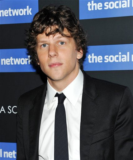 "<div class=""meta ""><span class=""caption-text "">Actor Jesse Eisenberg attends a special screening of 'The Social Network' hosted by The Cinema Society on Wednesday, Sept. 29, 2010 in New York.  (AP Photo/Evan Agostini)</span></div>"