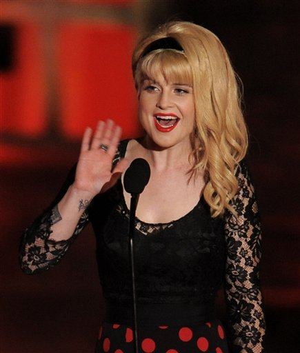 Kelly Osbourne is seen on stage at the Scream...