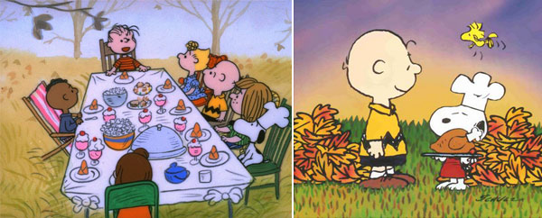 &#39;A Charlie Brown Thanksgiving&#39; &#40;1973&#41;.  In this movie, Peppermint Patty invites herself and her friends over to Charlie Brown&#39;s for Thanksgiving.  With the help of Linus, Snoopy and Woodstock, Brown tries to throw together a Thanksgiving dinner. <span class=meta>(Photo courtesy of Lee Mendelson Film Productions)</span>