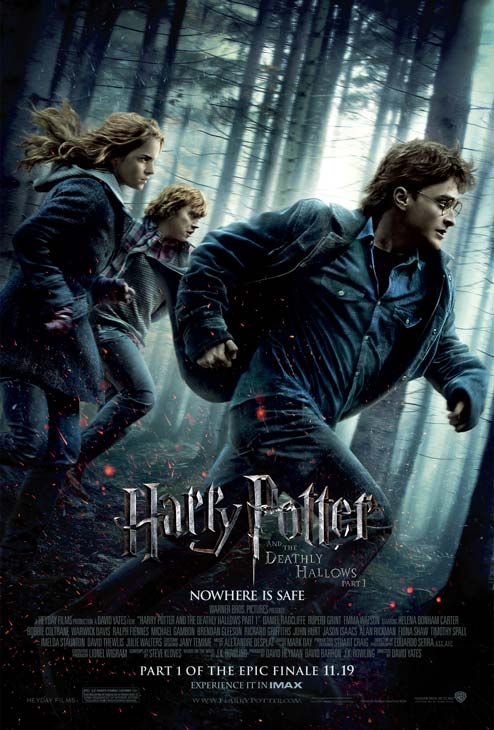 Daniel Radcliffe appears as Harry Potter, Rupert Grint as Ron Weasley and Emma Watson as Hermione Granger on an official poster for &#39;Harry Potter and the Deathly Hallows - Part 1&#39;. <span class=meta>(Photo by Warner Bros.)</span>