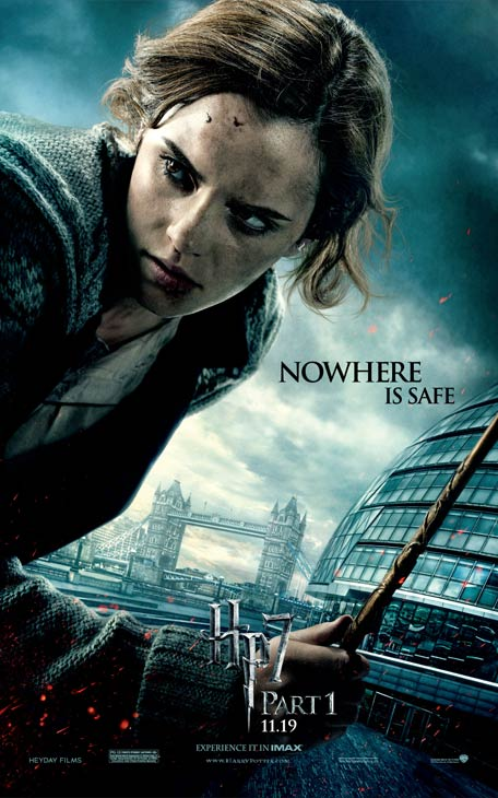 "<div class=""meta ""><span class=""caption-text "">Emma Watson appears as Hermione Granger on an official poster for 'Harry Potter and the Deathly Hallows - Part 1'. (Photo by Warner Bros.)</span></div>"