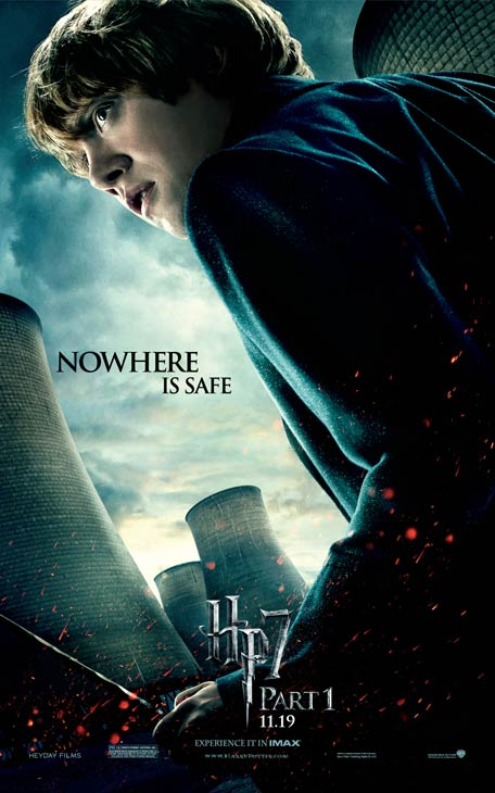 Rupert Grint appears as Ron Weasley on an official poster for 'Harry Potter and the Deathly Hallows - Part 1'.