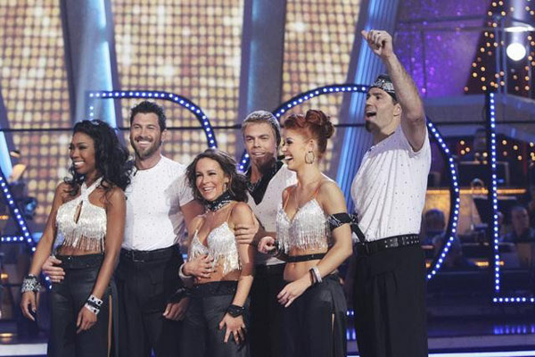 Brandy, Jennifer Grey, and Kurt Warner perform on Team Apolo for the cha cha dance off on &#39;Dancing With the Stars,&#39; Monday, Nov. 1, 2010. The team scored a total of 27 out of 30 for their performance. <span class=meta>(KABC Photo)</span>