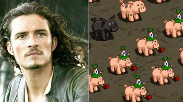 Orlando Bloom is afraid of pigs. (Pictured: Orlando in a scene from 'Pirates of the Caribbean' / Pigs in the Zynga game 'Farmville', which is usually played on Facebook)